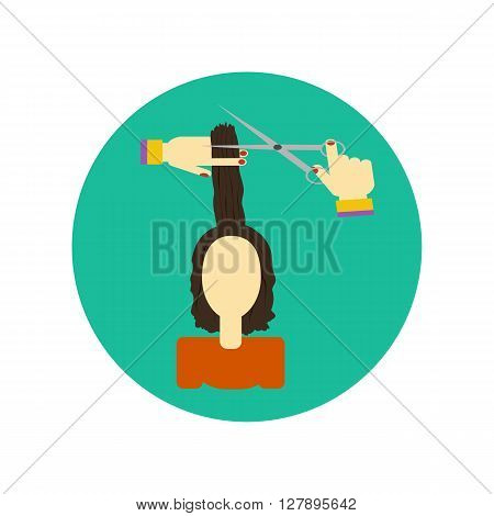 Hair cutting icon. Illustration of a young woman. Cutting hair at the hairdresser