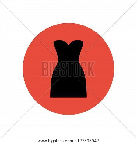 Dress vector illustration on the red background. Dress icon