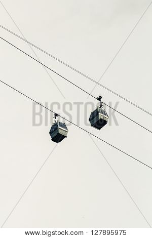 The  Cableway two cabins wire sky background