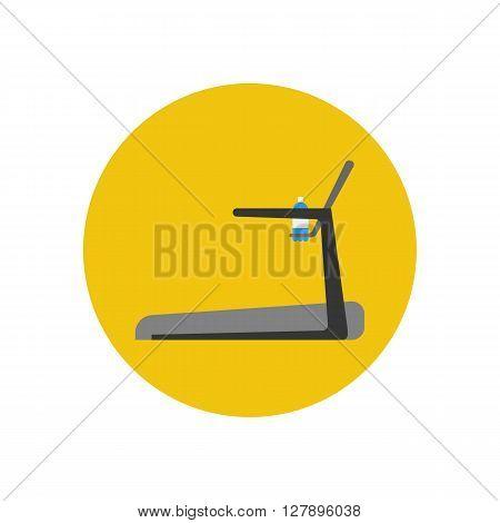Treadmill. Running track icon. Vector illustration. Gym equipment. Sport icon. Fitness icon. Sport trainer icon