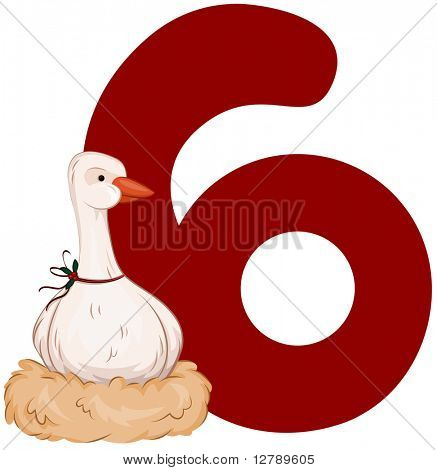 Illustration of a Goose Laying Eggs Beside a Number Six