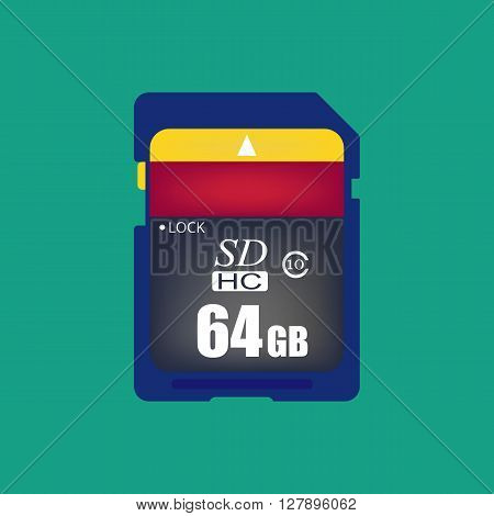 Sd card icon. Memory card icon. Vector illustration