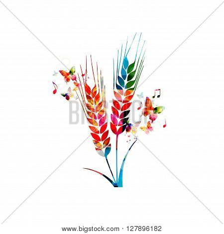 Vector illustration of colorful rye with butterflies