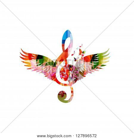 Vector illustration of colorful G-clef design with wings