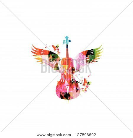 Vector illustration of colorful violoncello with wings