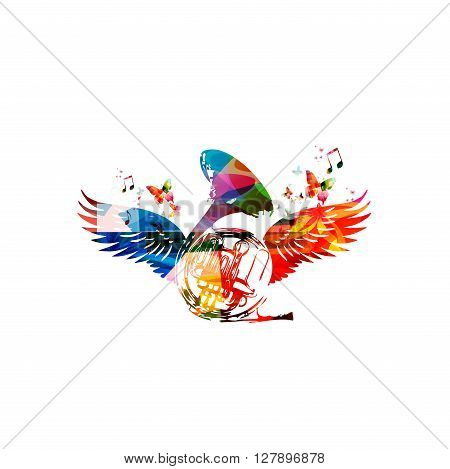 Vector illustration of colorful french horn with wings