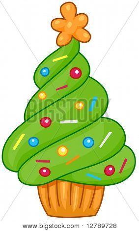 Christmas Tree Design Featuring a Cupcake Shaped Like a Christmas Tree