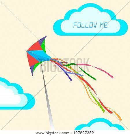 The concept: Follow me. Kite in flight.