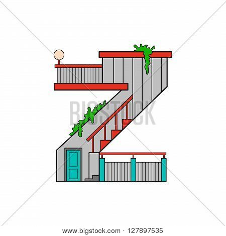vector illustration letter of the alphabet drawn in the form of a house. The letters of the alphabet to teach children reading.