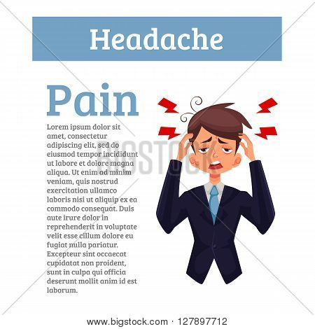 A man with a headache, compassion fatigue, a person with a disease of the head, an office worker holding his head with his hands and feels anguish. Demonstration of health problems and head