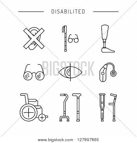 Icons denoting various degrees of disability of the person. chair wheelchair for the disabled. The white cane. Hearing aid.