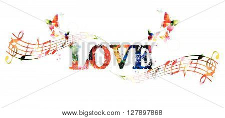 Vector illustration of colorful love inscription with music notes