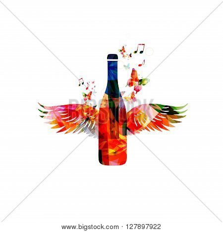 Vector illustration of colorful bottle with wings