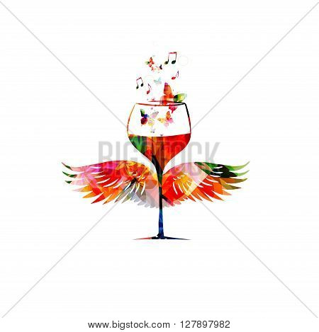 Vector illustration of colorful wineglass with wings