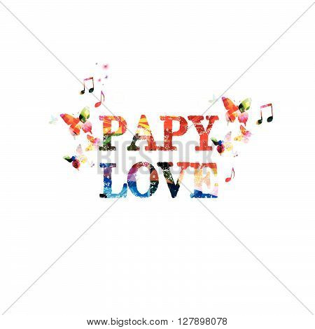 Puppy love. Colorful calligraphy phrase with butterflies