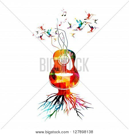 Vector illustration of colorful music background with guitar