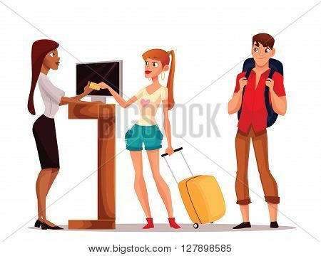 Booking hotel rooms, vector cartoon illustration of a funny comic, young couple taking the keys to their room, a man and a woman on vacation to stay in a hotel, Hotel reception