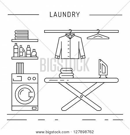 Elements for laundry interior. Laundry room interior vector
