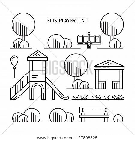 Children's Playground with swings. A place for children play in the yard. Children's Playground drawn in a linear style vector outline.