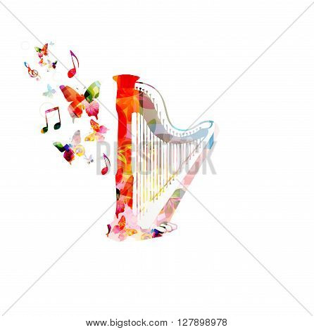 Vector illustration of colorful harp with butterflies