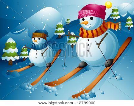 Illustration of Snowmen Skiing Down a Mountain Slope