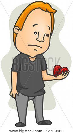 Illustration of a Man Looking at His Broken Heart