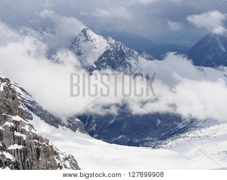 Landscape from Mount Zugspitze 30 may spring Sunny day with variable cloudiness