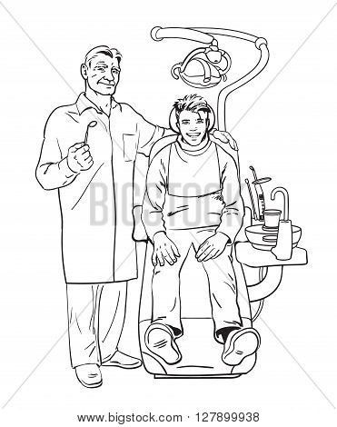 The patient on examination at dentist. Doctor dentist. Dental surgeon. The reception was at the dentist. Dentist smiling. Pleased with the patient in the chair. Dental treatment. Dental Health.