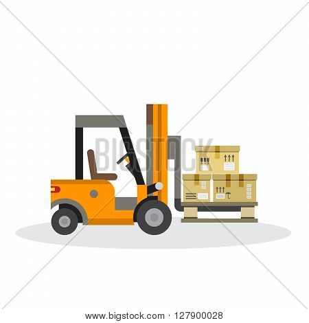 The warehouse work with loading and unloading of cargo. Warehouse complex style flat. Forklift works in a warehouse.