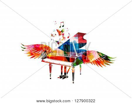 Vector illustration of colorful piano with wings