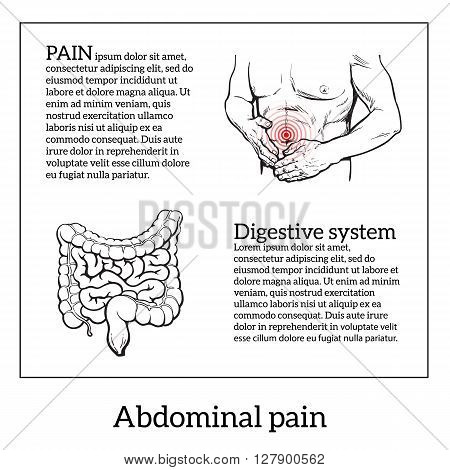 Abdominal pain in men, stomach and bowel disease, digestive problems, sick intestines, vector sketch hand-drawn image of the man holding his sick stomach, intestines detailed image, health problems