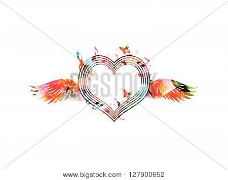 Vector illustration of colorful heart shaped stave with wings