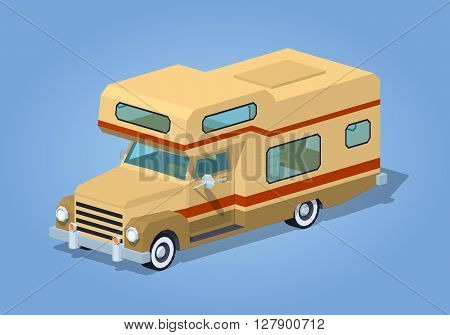 Brown motor home against the blue background. 3D lowpoly isometric vector illustration