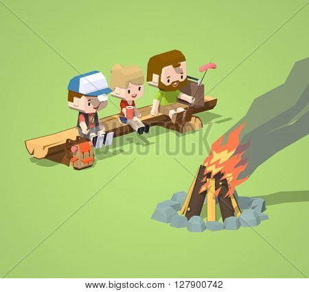 Low poly rough wooden bench and the campfire. 3D lowpoly isometric vector concept illustration