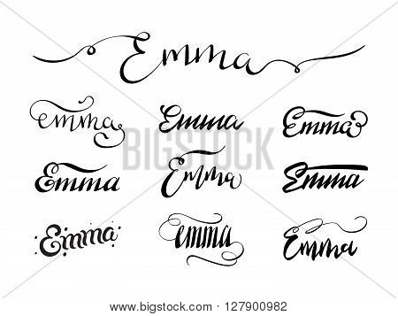 Personal name Emma. Vector handwritten calligraphy tattoo design set