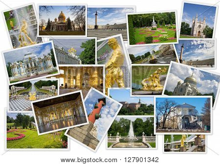 Sights of Saint-Petersburg in collage with several shots on white background