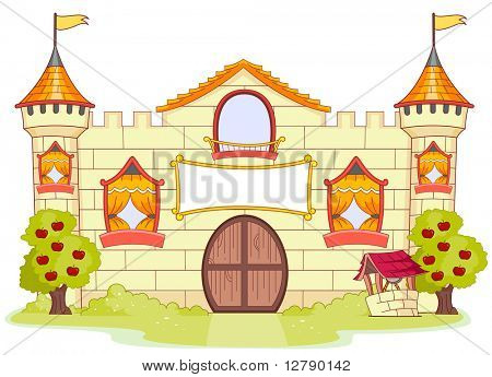 Illustration of a Large Castle with Partially Open Windows