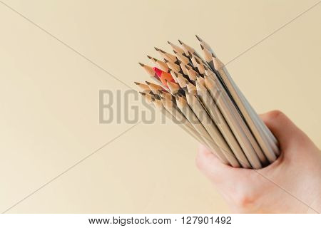 Celebratory pencil among usual pencils on beige background