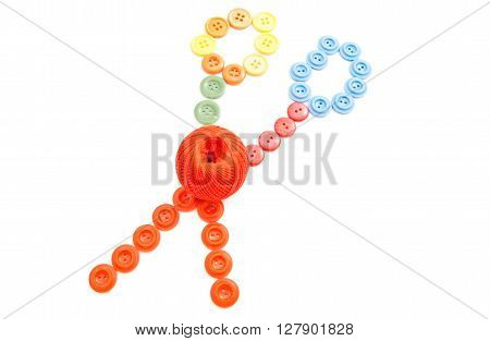 Colorful Buttons And Ball Of Thread