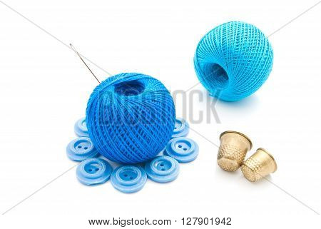 Needle, Plastic Buttons, Thimbles And Thread