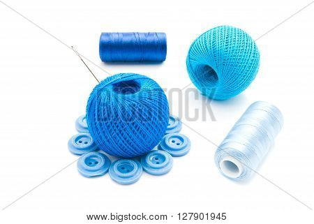 Needle, Plastic Buttons And Thread