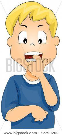Illustration of a Boy Biting His Fingernails