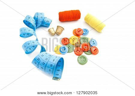 Meter, Colored Buttons, Thread And Thimbles