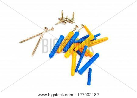 Different Screws And Dowels On White