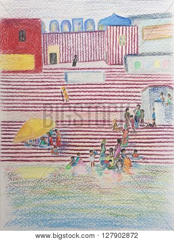 Red and white hindu temple hand drawn sketch, colored pencils drawing city landscape, Varanasi color pencils sketch