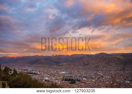 Cityscape Of Cusco And Cloudscape At Dusk, Peru