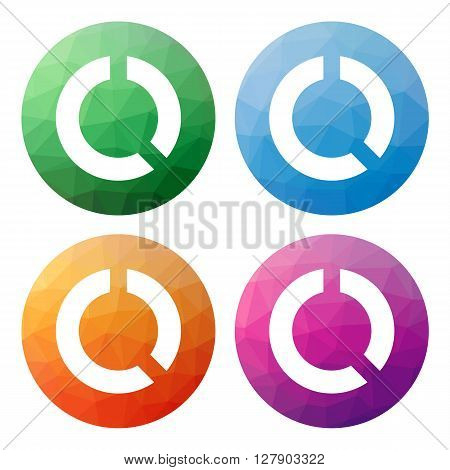 Set  Of 4 Isolated Modern Low Polygonal Buttons - Icons - For Pie Diagram