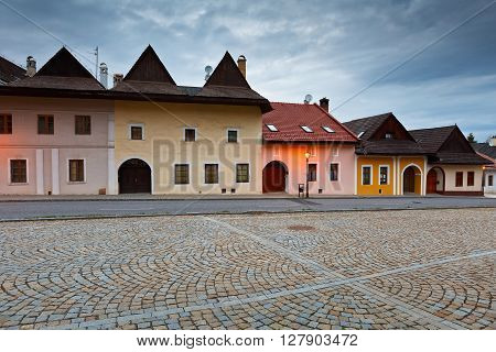 Characteristic architecture in the square of Spisska Sobota, Slovakia.