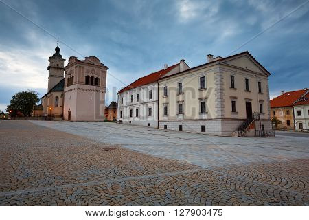Church and town hall in the square of Spisska Sobota, Slovakia.