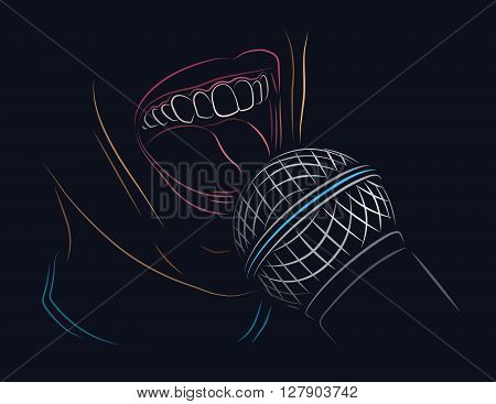 Singing into a microphone color line art illustration